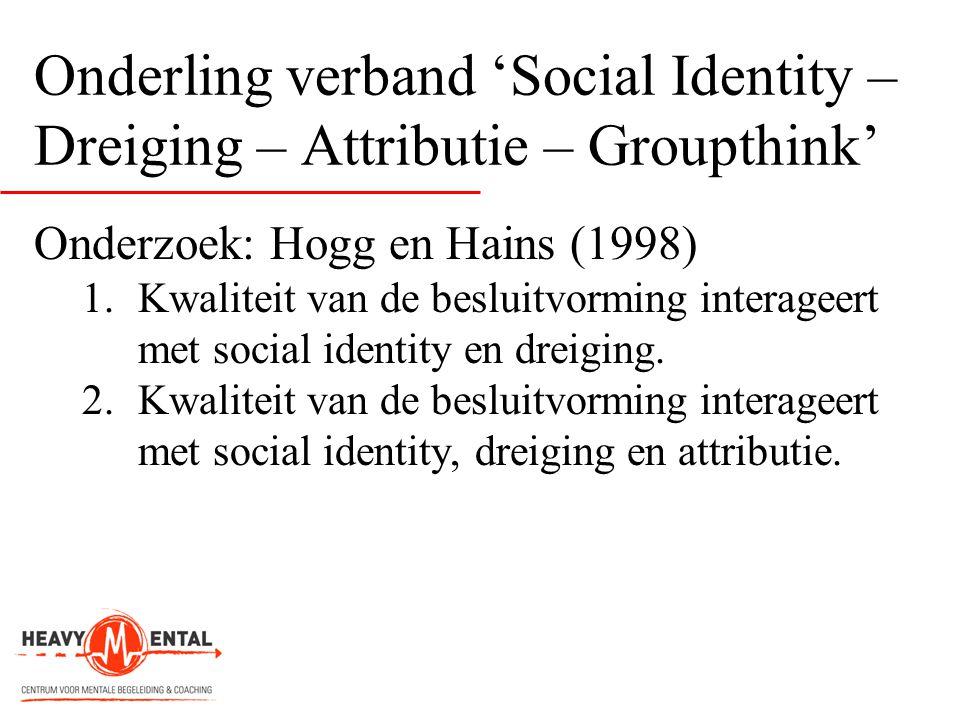 Onderling verband 'Social Identity – Dreiging – Attributie – Groupthink' Onderzoek: Hogg en Hains (1998) 1.Kwaliteit van de besluitvorming interageert