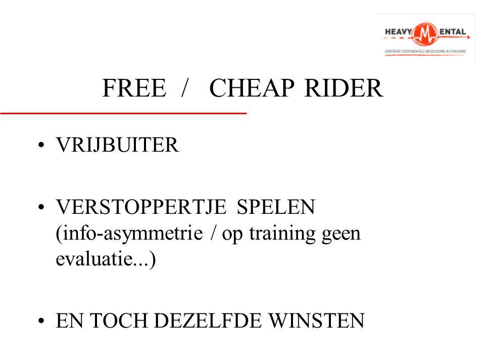 FREE / CHEAP RIDER •VRIJBUITER •VERSTOPPERTJE SPELEN (info-asymmetrie / op training geen evaluatie...) •EN TOCH DEZELFDE WINSTEN