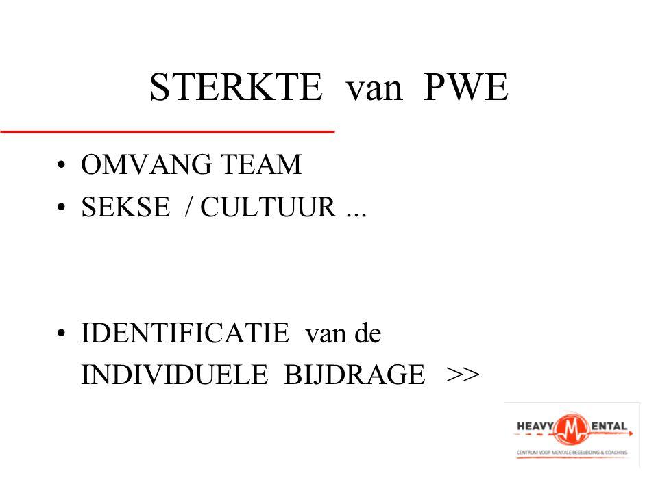 STERKTE van PWE •OMVANG TEAM •SEKSE / CULTUUR... •IDENTIFICATIE van de INDIVIDUELE BIJDRAGE >>