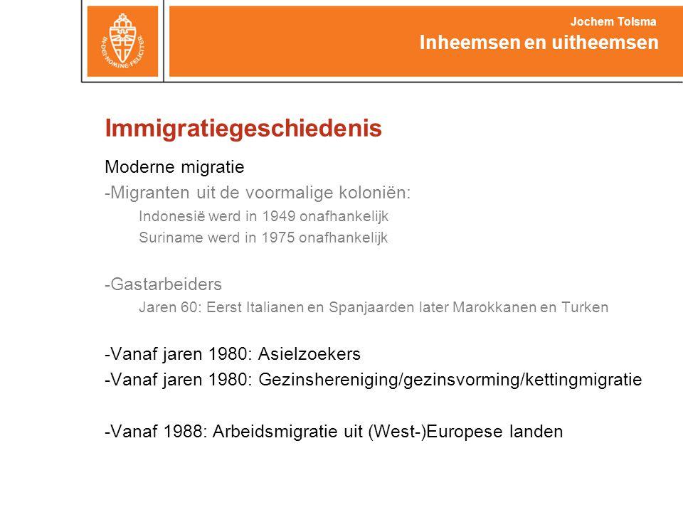 Immigratiegeschiedenis Moderne migratie -Migranten uit de voormalige koloniën: Indonesië werd in 1949 onafhankelijk Suriname werd in 1975 onafhankelij