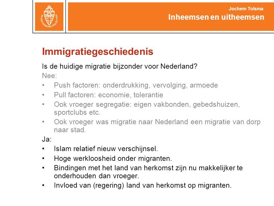 Immigratiegeschiedenis Is de huidige migratie bijzonder voor Nederland? Nee: •Push factoren: onderdrukking, vervolging, armoede •Pull factoren: econom