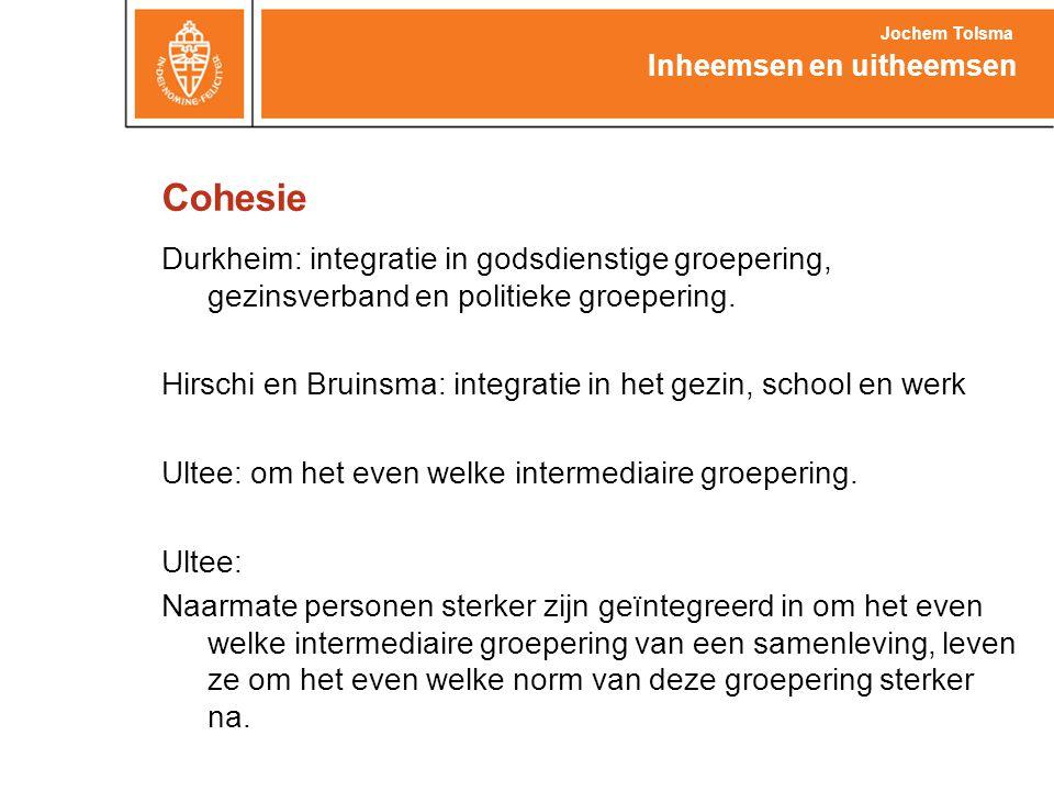Cohesie Durkheim: integratie in godsdienstige groepering, gezinsverband en politieke groepering. Hirschi en Bruinsma: integratie in het gezin, school