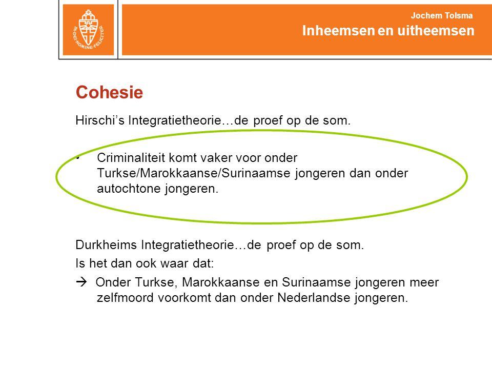 Cohesie Hirschi's Integratietheorie…de proef op de som. •Criminaliteit komt vaker voor onder Turkse/Marokkaanse/Surinaamse jongeren dan onder autochto