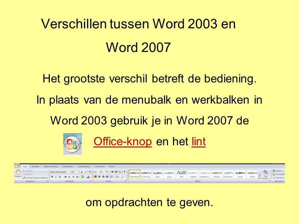 Verschillen tussen Word 2003 en Word 2007 Het grootste verschil betreft de bediening.