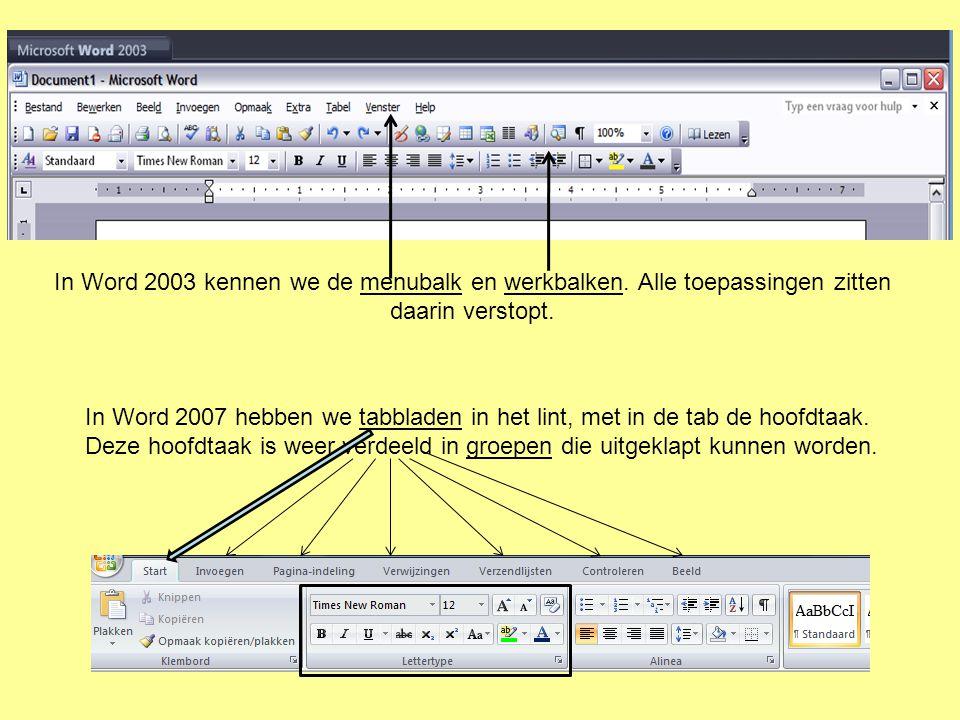 In Word 2003 kennen we de menubalk en werkbalken. Alle toepassingen zitten daarin verstopt.