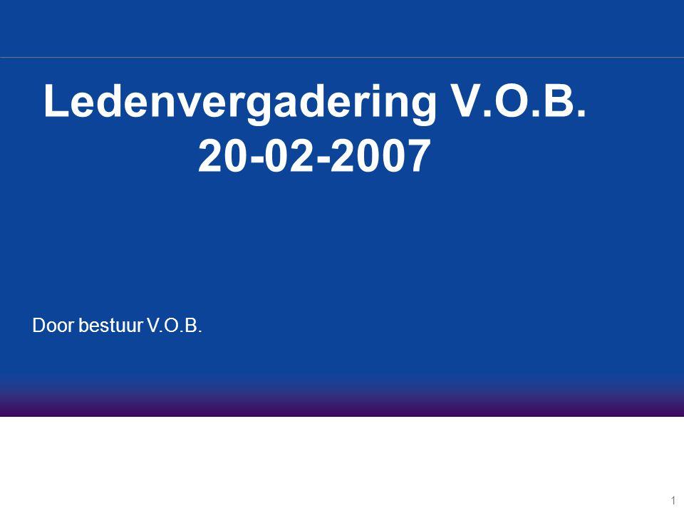 1 Ledenvergadering V.O.B. 20-02-2007 Door bestuur V.O.B.