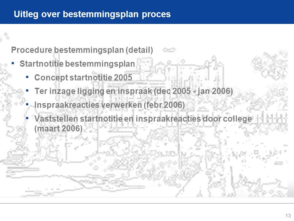 13 Uitleg over bestemmingsplan proces Procedure bestemmingsplan (detail) • Startnotitie bestemmingsplan • Concept startnotitie 2005 • Ter inzage ligging en inspraak (dec 2005 - jan 2006) • Inspraakreacties verwerken (febr 2006) • Vaststellen startnotitie en inspraakreacties door college (maart 2006)