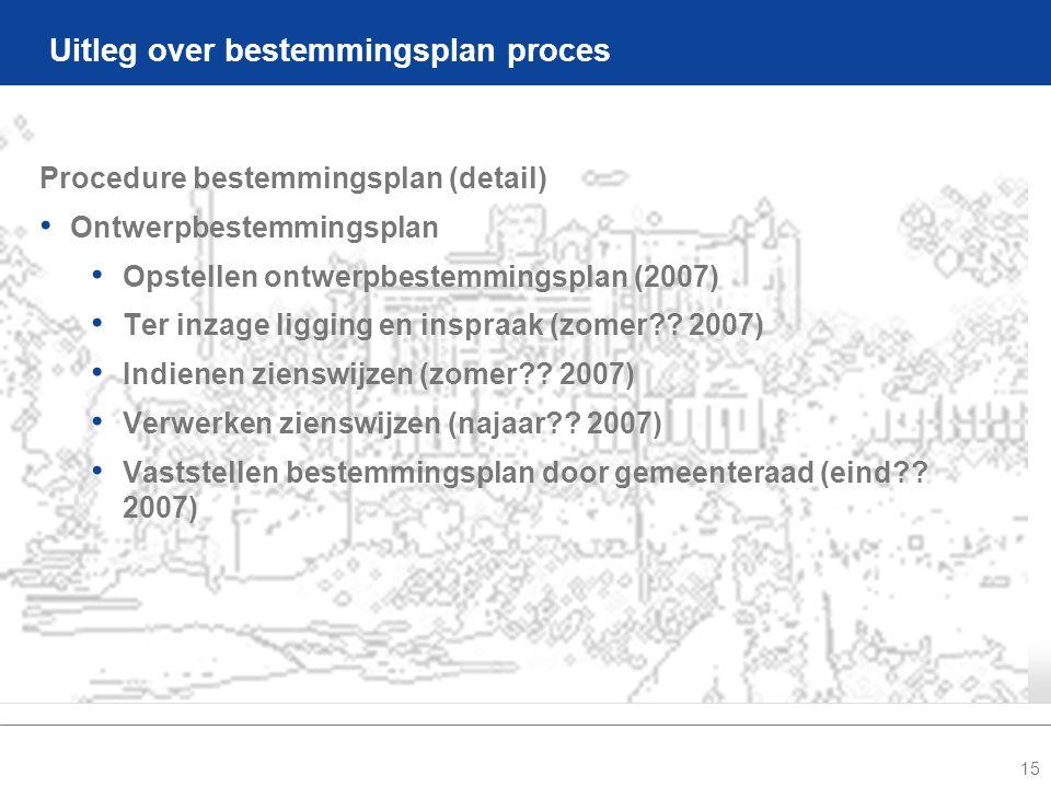 15 Uitleg over bestemmingsplan proces Procedure bestemmingsplan (detail) • Ontwerpbestemmingsplan • Opstellen ontwerpbestemmingsplan (2007) • Ter inzage ligging en inspraak (zomer .