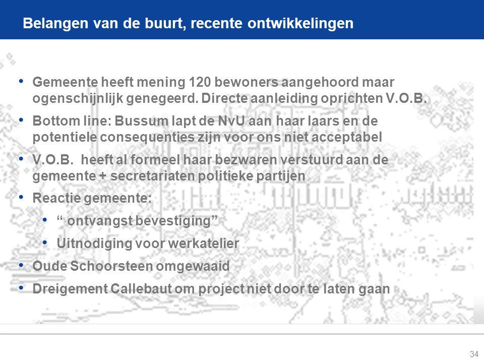 34 Belangen van de buurt, recente ontwikkelingen • Gemeente heeft mening 120 bewoners aangehoord maar ogenschijnlijk genegeerd.
