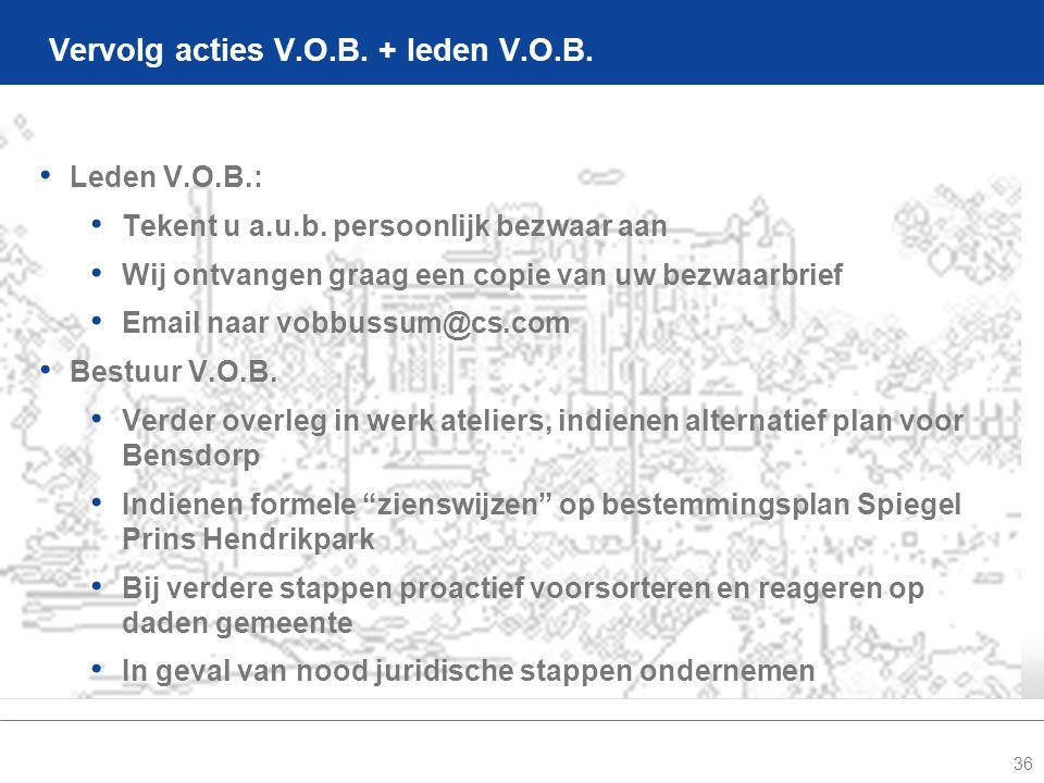 36 Vervolg acties V.O.B. + leden V.O.B. • Leden V.O.B.: • Tekent u a.u.b.