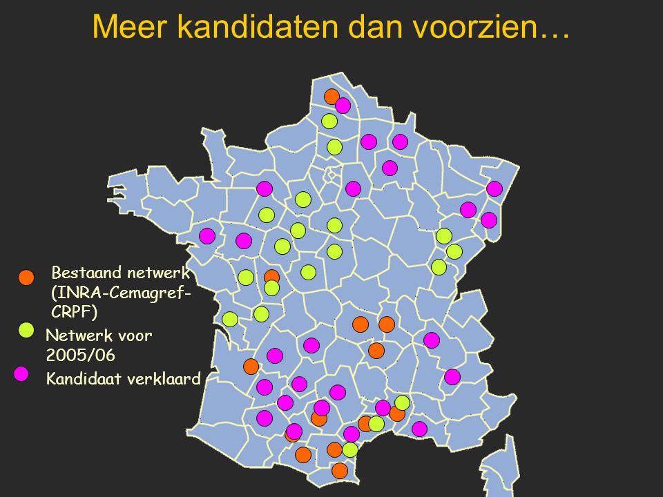 Meer kandidaten dan voorzien… Netwerk voor 2005/06 Bestaand netwerk (INRA-Cemagref- CRPF) Kandidaat verklaard
