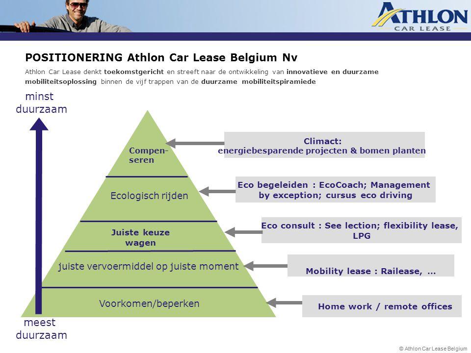 © Athlon Car Lease Belgium POSITIONERING Athlon Car Lease Belgium Nv Athlon Car Lease denkt toekomstgericht en streeft naar de ontwikkeling van innova