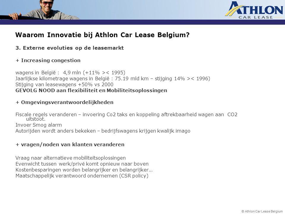 © Athlon Car Lease Belgium Waarom Innovatie bij Athlon Car Lease Belgium? 3. Externe evoluties op de leasemarkt + Increasing congestion wagens in Belg