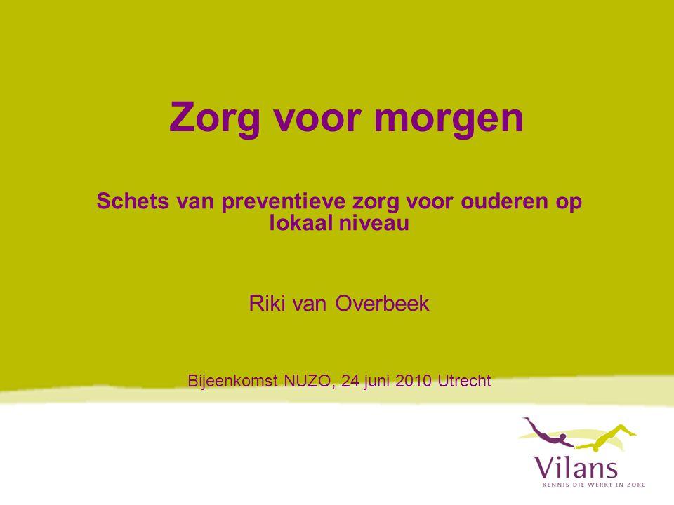 www.vilans.nl Quickscan  Quickscan uitgevoerd voorjaar/zomer 2009  Opdracht Ministerie VWS  In kader van Wet publieke gezondheid  Ouderengezondheidszorg binnen reikwijdte van Wpg (artikel 5a)  Uitvoering Wpg primair onder verantwoordelijkheid van gemeenten  Welke activiteiten vinden al plaats en door wie?
