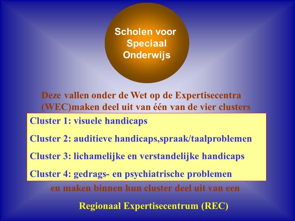 Scholen voor Speciaal Onderwijs Cluster 1: visuele handicaps Cluster 2: auditieve handicaps,spraak/taalproblemen Cluster 3: lichamelijke en verstandel
