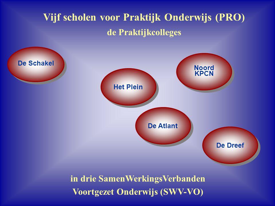 Vijf scholen voor Praktijk Onderwijs (PRO) de Praktijkcolleges in drie SamenWerkingsVerbanden Voortgezet Onderwijs (SWV-VO) Het Plein De Atlant De Dre