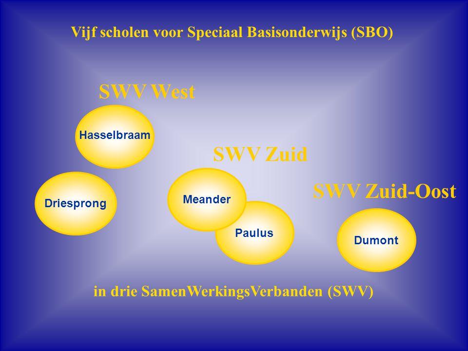 Paulus Vijf scholen voor Speciaal Basisonderwijs (SBO) Hasselbraam Dumont Meander in drie SamenWerkingsVerbanden (SWV) SWV Zuid SWV West SWV Zuid-Oost