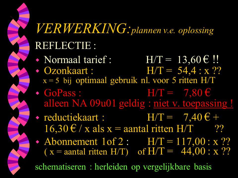 VERWERKING: plannen v.e. oplossing REFLECTIE : w Normaal tarief : H/T = 13,60 € !! w Ozonkaart : H/T = 54,4 : x ?? x = 5 bij optimaal gebruik nl. voor