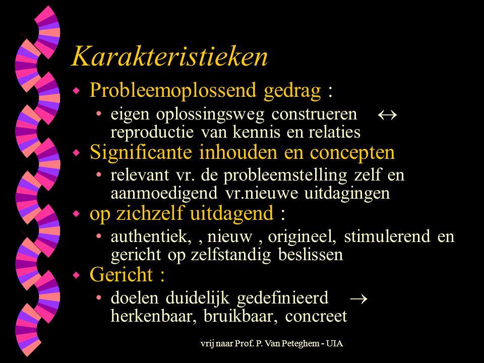 vrij naar Prof. P. Van Peteghem - UIA Karakteristieken w Probleemoplossend gedrag : •eigen oplossingsweg construeren  reproductie van kennis en relat