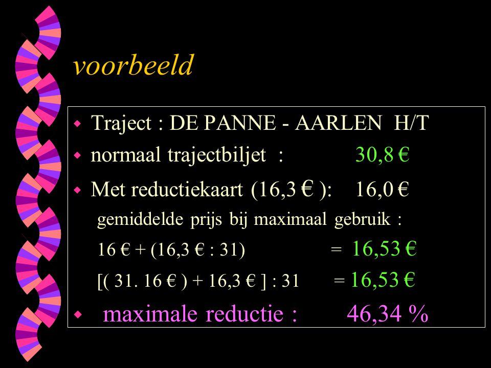 voorbeeld w Traject : DE PANNE - AARLEN H/T w normaal trajectbiljet : 30,8 € w Met reductiekaart (16,3 € ): 16,0 € gemiddelde prijs bij maximaal gebru