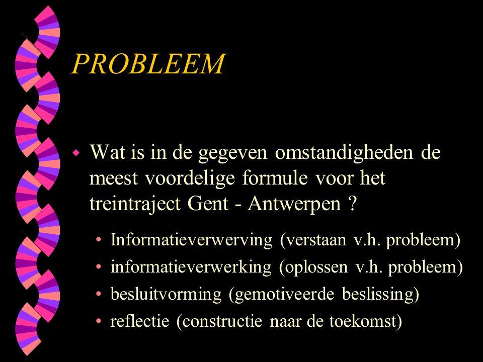 PROBLEEM w Wat is in de gegeven omstandigheden de meest voordelige formule voor het treintraject Gent - Antwerpen ? •Informatieverwerving (verstaan v.