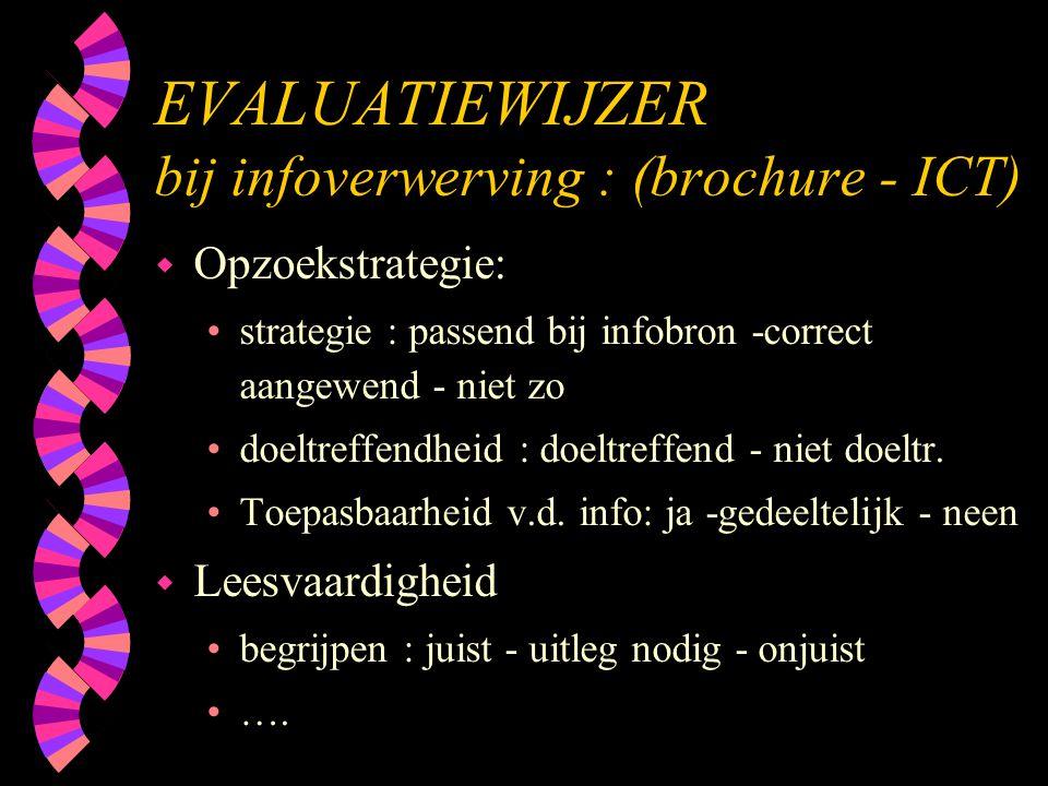 EVALUATIEWIJZER bij infoverwerving : (brochure - ICT) w Opzoekstrategie: •strategie : passend bij infobron -correct aangewend - niet zo •doeltreffendh