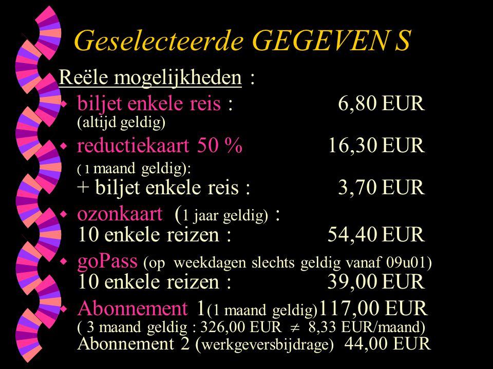 Geselecteerde GEGEVEN S Reële mogelijkheden : w biljet enkele reis : 6,80 EUR (altijd geldig) w reductiekaart 50 % 16,30 EUR ( 1 maand geldig): + bilj