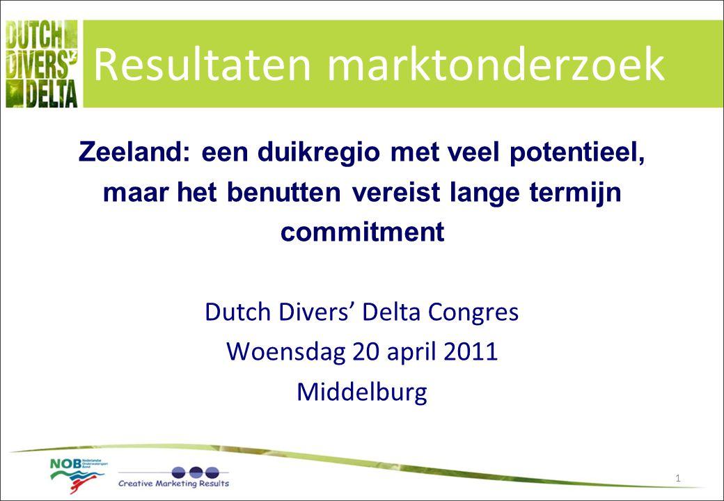 1 Resultaten marktonderzoek Zeeland: een duikregio met veel potentieel, maar het benutten vereist lange termijn commitment Dutch Divers' Delta Congres
