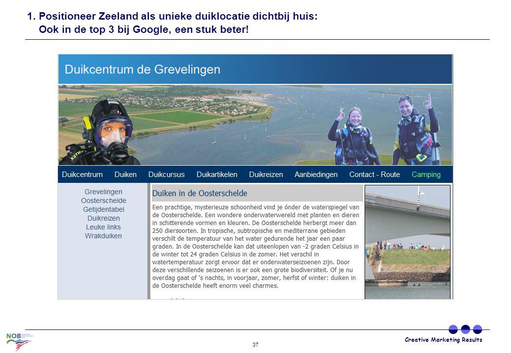 Creative Marketing Results 37 1. Positioneer Zeeland als unieke duiklocatie dichtbij huis: Ook in de top 3 bij Google, een stuk beter!