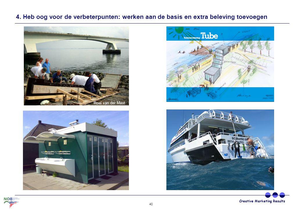 Creative Marketing Results 40 4. Heb oog voor de verbeterpunten: werken aan de basis en extra beleving toevoegen Roel van der Mast