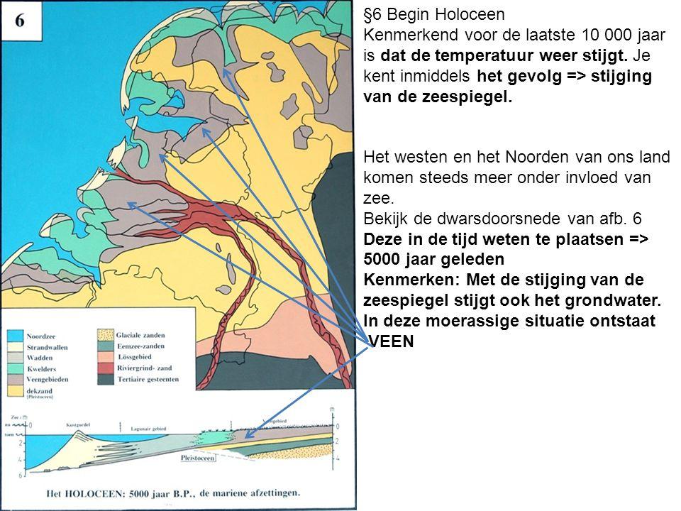 Het westen en het Noorden van ons land komen steeds meer onder invloed van zee. Bekijk de dwarsdoorsnede van afb. 6 Deze in de tijd weten te plaatsen