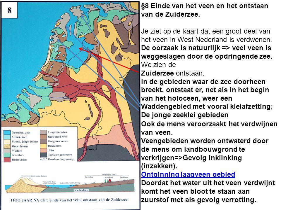 §8 Einde van het veen en het ontstaan van de Zuiderzee. Je ziet op de kaart dat een groot deel van het veen in West Nederland is verdwenen. De oorzaak