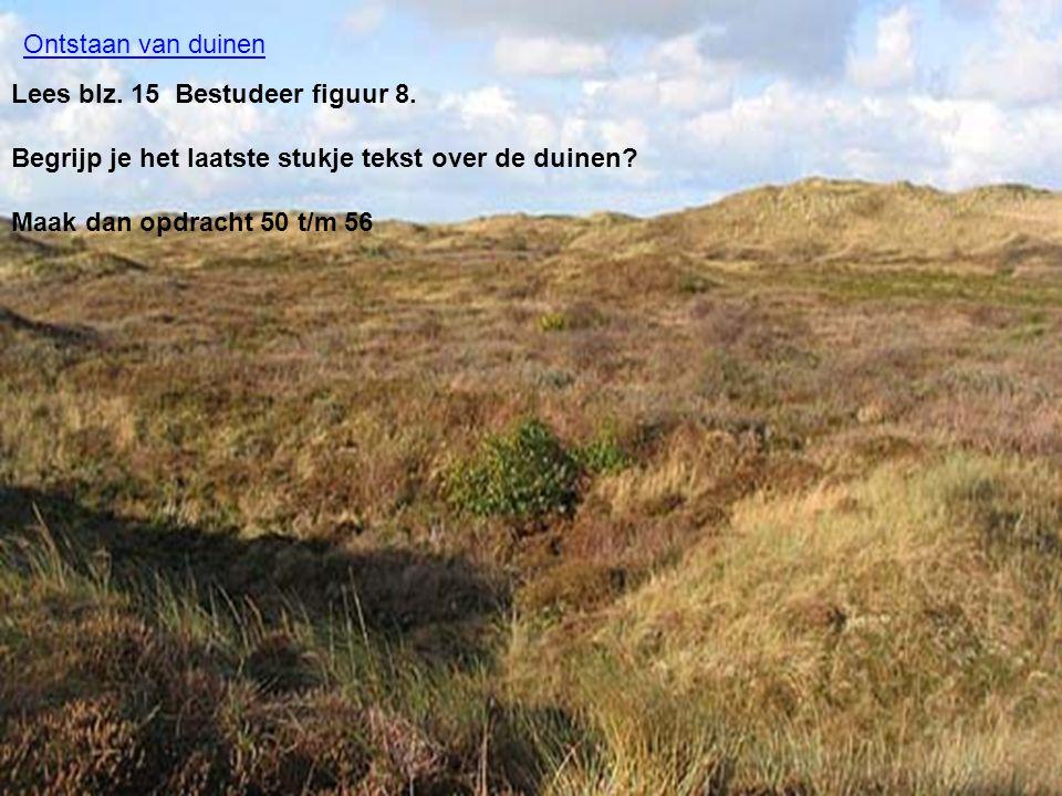 Lees blz. 15 Bestudeer figuur 8. Begrijp je het laatste stukje tekst over de duinen? Maak dan opdracht 50 t/m 56 Ontstaan van duinen