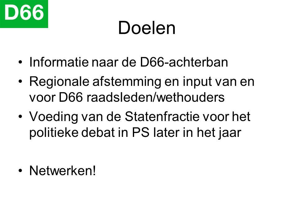 Doelen •Informatie naar de D66-achterban •Regionale afstemming en input van en voor D66 raadsleden/wethouders •Voeding van de Statenfractie voor het p