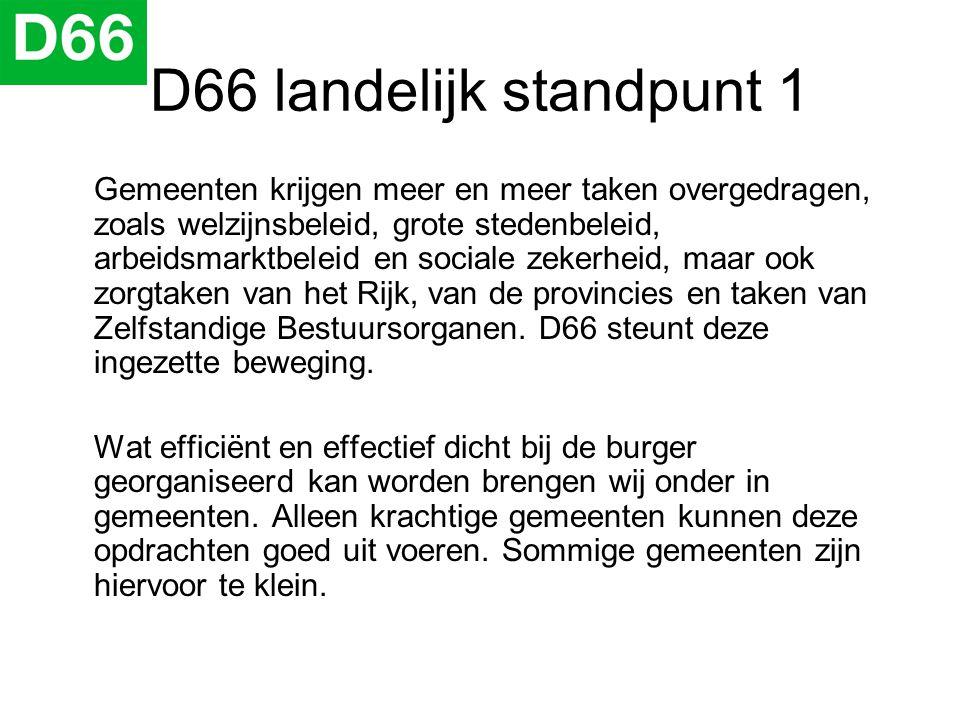 D66 landelijk standpunt 1 Gemeenten krijgen meer en meer taken overgedragen, zoals welzijnsbeleid, grote stedenbeleid, arbeidsmarktbeleid en sociale z