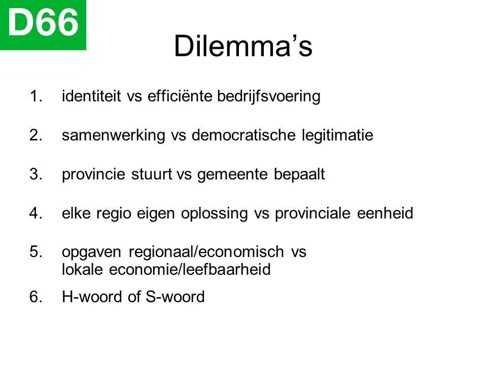 Dilemma's 1.identiteit vs efficiënte bedrijfsvoering 2.samenwerking vs democratische legitimatie 3.provincie stuurt vs gemeente bepaalt 4.elke regio e