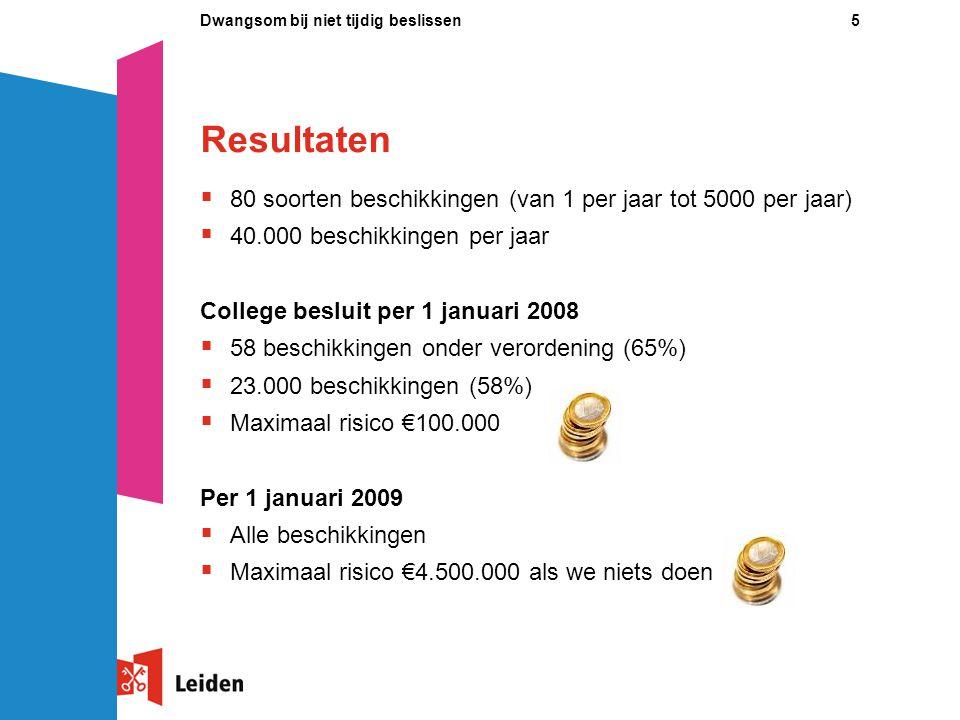16Dwangsom bij niet tijdig beslissen Contact  Monique van Til projectleider dwangsommen bij niet tijdig beslissen Gemeente Leiden 071 – 5 16 54 97 m.van.til@leiden.nl Internet: www.leiden.nl/dwangsom