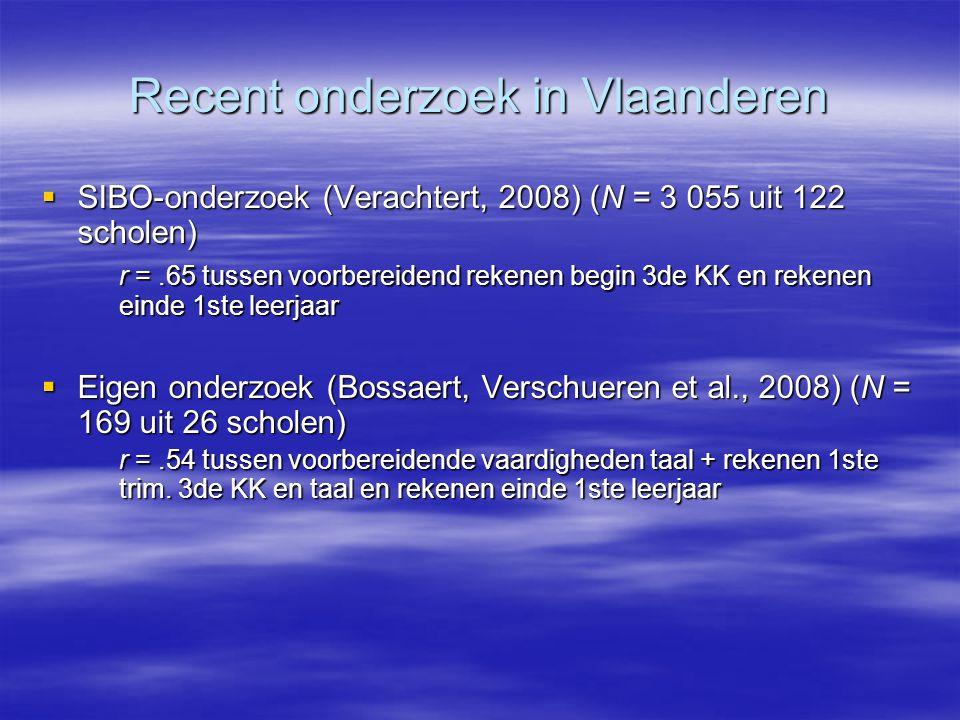 Recent onderzoek in Vlaanderen  SIBO-onderzoek (Verachtert, 2008) (N = 3 055 uit 122 scholen) r =.65 tussen voorbereidend rekenen begin 3de KK en rek
