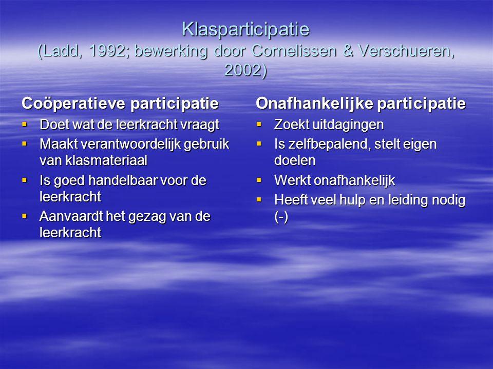 Klasparticipatie (Ladd, 1992; bewerking door Cornelissen & Verschueren, 2002) Coöperatieve participatie  Doet wat de leerkracht vraagt  Maakt verant