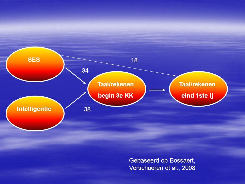 SESIntelligentie.34.38 Taal/rekenen begin 3e KK Taal/rekenen eind 1ste lj.18 Gebaseerd op Bossaert, Verschueren et al., 2008