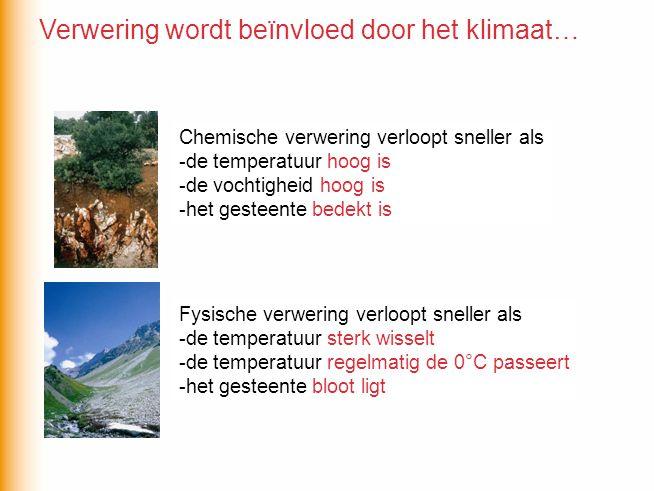 Chemische verwering verloopt sneller als -de temperatuur … -de vochtigheid … -het gesteente … Fysische verwering verloopt sneller als -de temperatuur … -het gesteente … Chemische verwering verloopt sneller als -de temperatuur hoog is -de vochtigheid hoog is -het gesteente bedekt is Fysische verwering verloopt sneller als -de temperatuur sterk wisselt -de temperatuur regelmatig de 0°C passeert -het gesteente bloot ligt Verwering wordt beïnvloed door het klimaat…