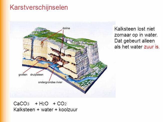 CaCO 3 + H 2 O + CO 2 Kalksteen + water + koolzuur Kalksteen lost niet zomaar op in water.