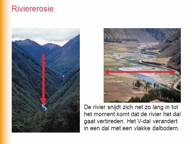 De rivier snijdt zich net zo lang in tot het moment komt dat… De rivier snijdt zich net zo lang in tot het moment komt dat de rivier het dal gaat verbreden.