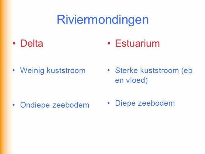 Riviermondingen •Delta •Weinig kuststroom •Ondiepe zeebodem •Estuarium •Sterke kuststroom (eb en vloed) •Diepe zeebodem