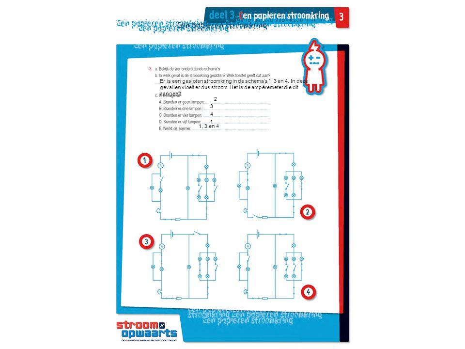Er is een gesloten stroomkring in de schema's 1, 3 en 4. In deze gevallen vloeit er dus stroom. Het is de ampèremeter die dit aangeeft. 2 3 4 1 1, 3 e