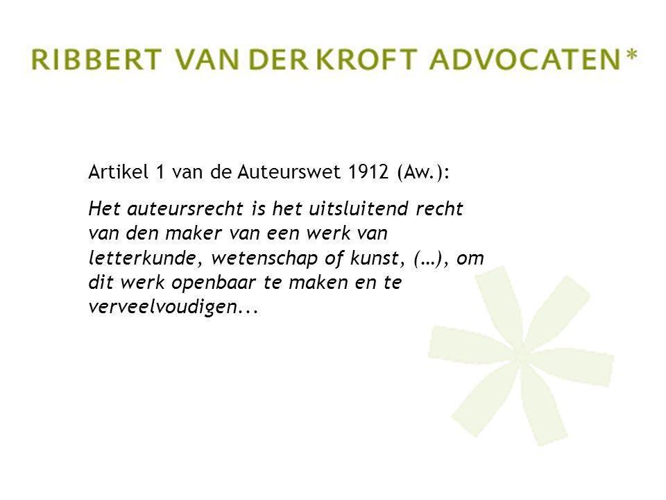 Artikel 1 van de Auteurswet 1912 (Aw.): Het auteursrecht is het uitsluitend recht van den maker van een werk van letterkunde, wetenschap of kunst, (…), om dit werk openbaar te maken en te verveelvoudigen...