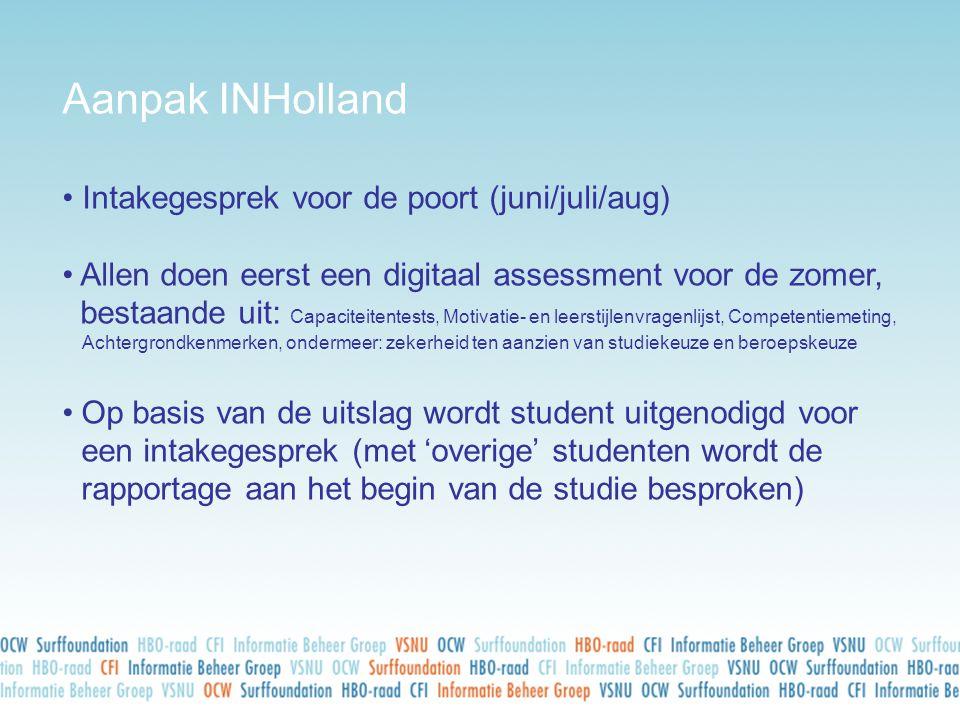 Aanpak INHolland • Intakegesprek voor de poort (juni/juli/aug) • Allen doen eerst een digitaal assessment voor de zomer, bestaande uit: Capaciteitente