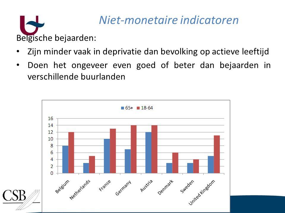Niet-monetaire indicatoren Belgische bejaarden: • Zijn minder vaak in deprivatie dan bevolking op actieve leeftijd • Doen het ongeveer even goed of beter dan bejaarden in verschillende buurlanden