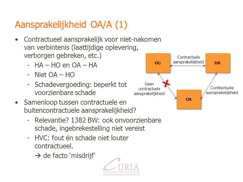 Contractuele aansprakelijkheid Aansprakelijkheid OA/A (1) •Contractueel aansprakelijk voor niet-nakomen van verbintenis (laattijdige oplevering, verbo