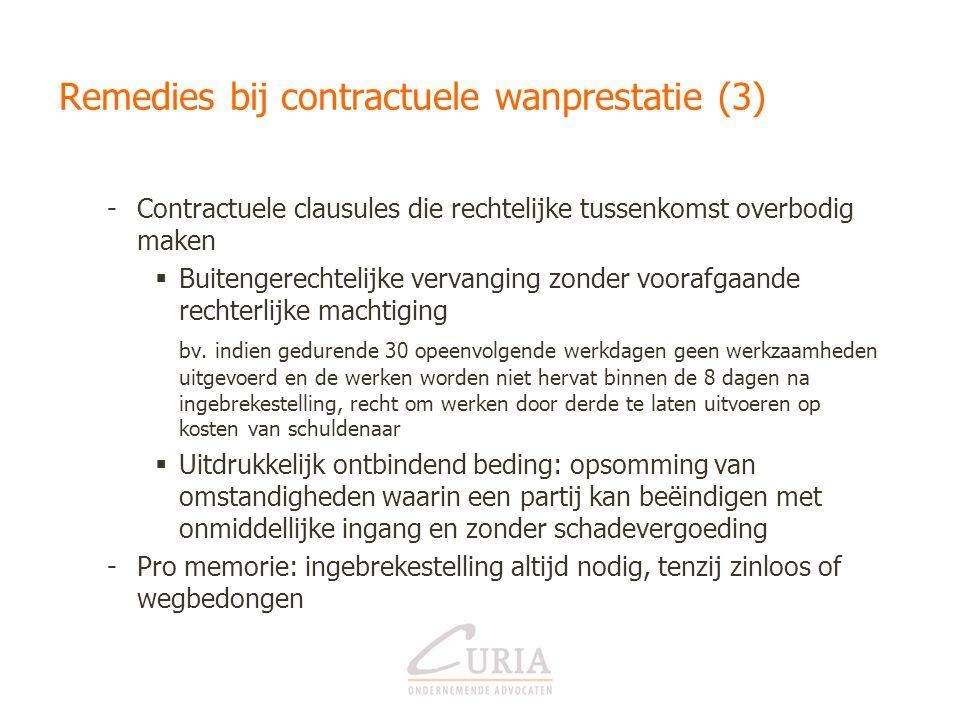 Remedies bij contractuele wanprestatie (3) -Contractuele clausules die rechtelijke tussenkomst overbodig maken  Buitengerechtelijke vervanging zonder